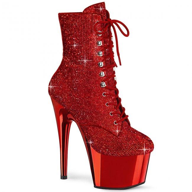 vysoké červené kotníkové kozačky s kamínky Adore-1020chrs-rrch - Velikost 41