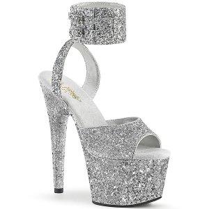 vysoké stříbrné dámské sandále s glitry Adore-791lg-sg