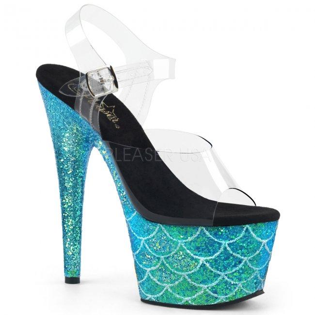 světle modré vysoké sandály s glitry Adore-708mslg-caqg - Velikost 35