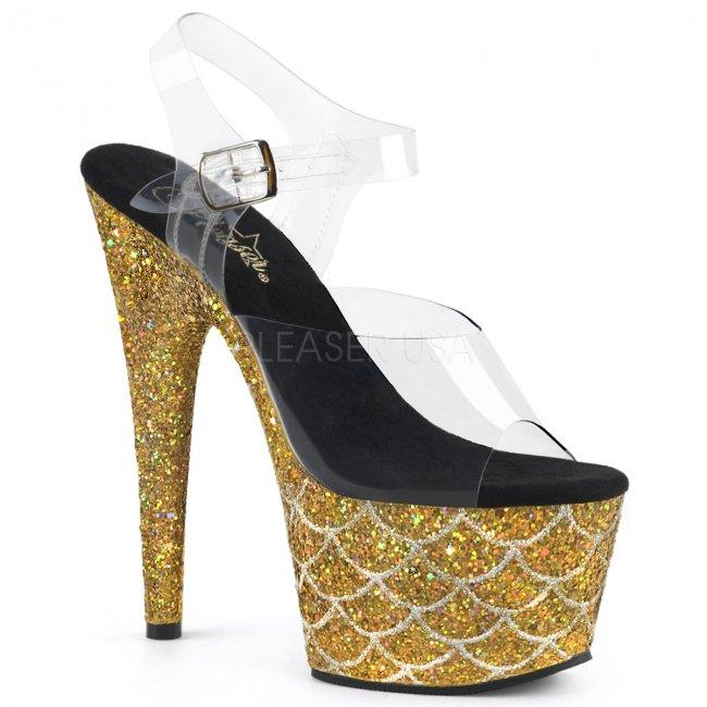 vysoké zlaté sandály s glitry Adore-708mslg-cgg - Velikost 36
