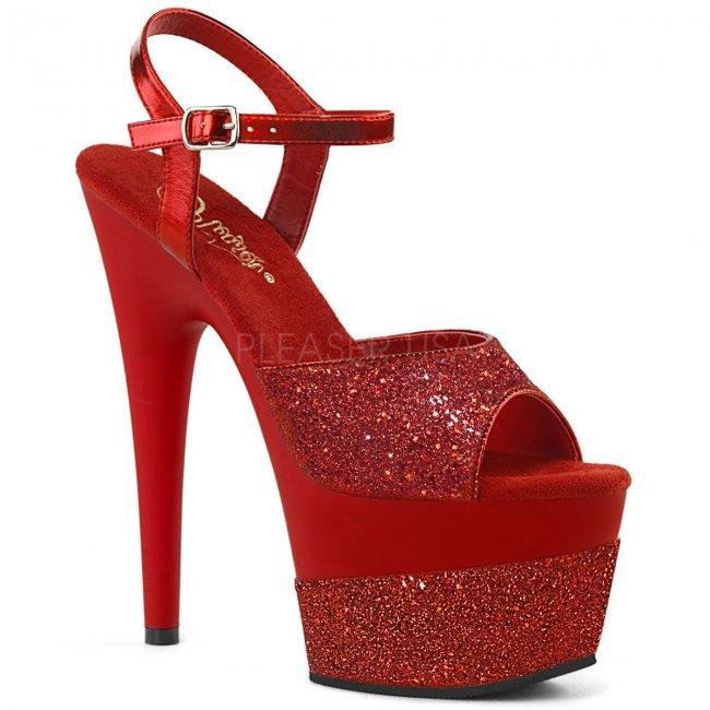 vysoké dámské červené sandály s glitry Adore-709-2g-rg - Velikost 37