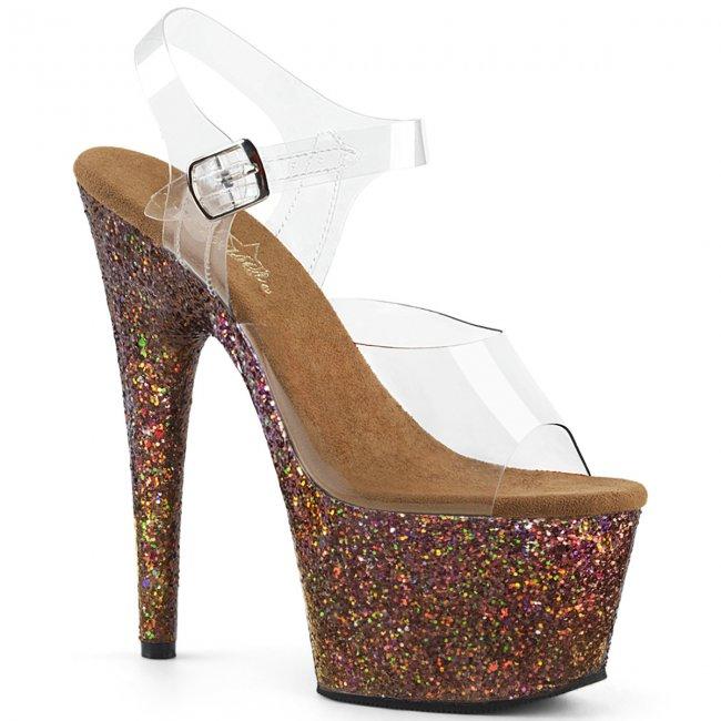 dámské sandály s glitry na vysoké platformě Adore-708lg-ccopg - Velikost 36