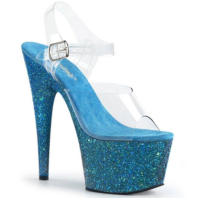 modré dámské sandály s glitry na vysoké platformě Adore-708lg-caqg - Velikost 36
