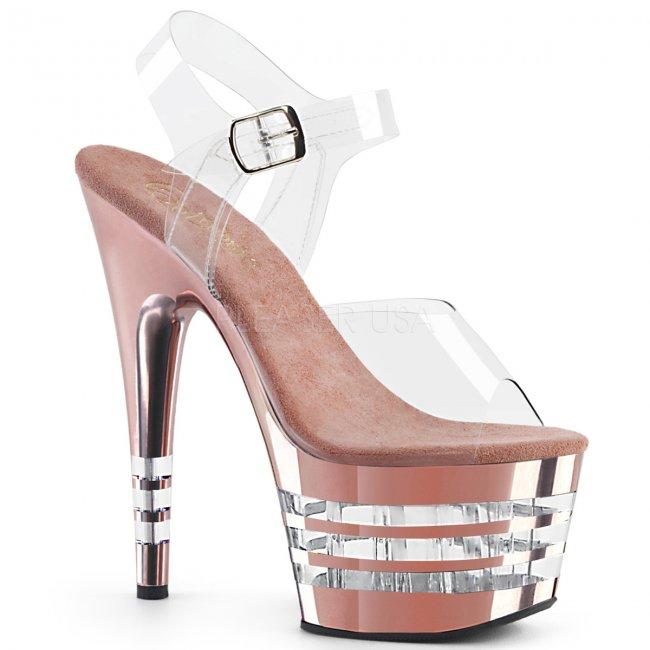 vysoké dámské růžové sandály Adore-708chln-crogldch - Velikost 36