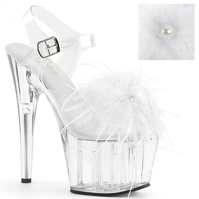 vysoké dámské sandále s bílým boa Adore-708mf-cwfeac - Velikost 38