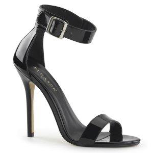 černé dámské lakované sandálky Amuse-10-b