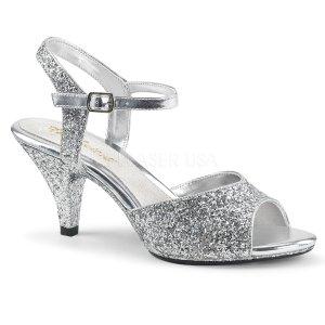stříbrné dámské sandály s glitry Belle-309g-s