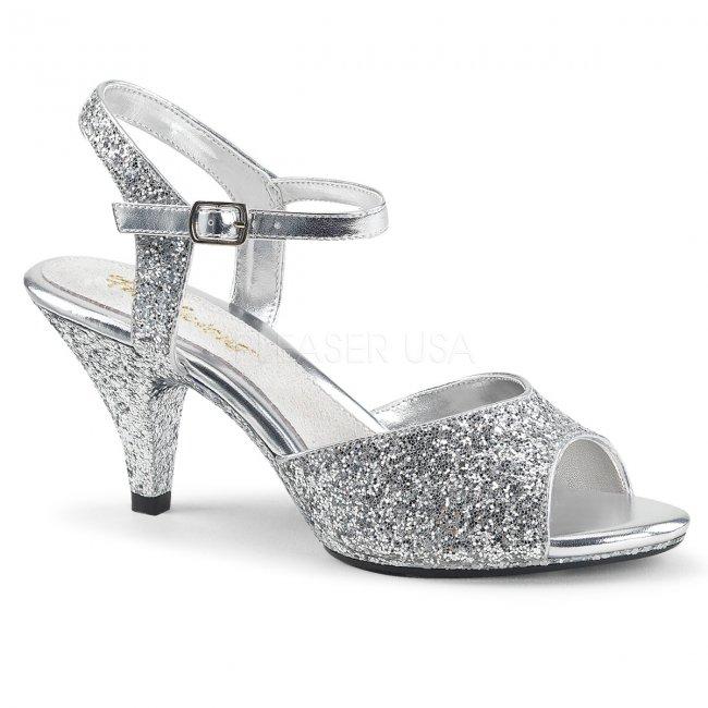 stříbrné dámské sandály s glitry Belle-309g-s - Velikost 38