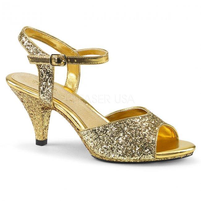 zlaté dámské sandály s glitry Belle-309g-g - Velikost 40