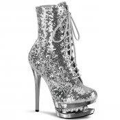 luxusní stříbrné kotníkové kozačky s glitry Blondie-r-1020-ssqsch