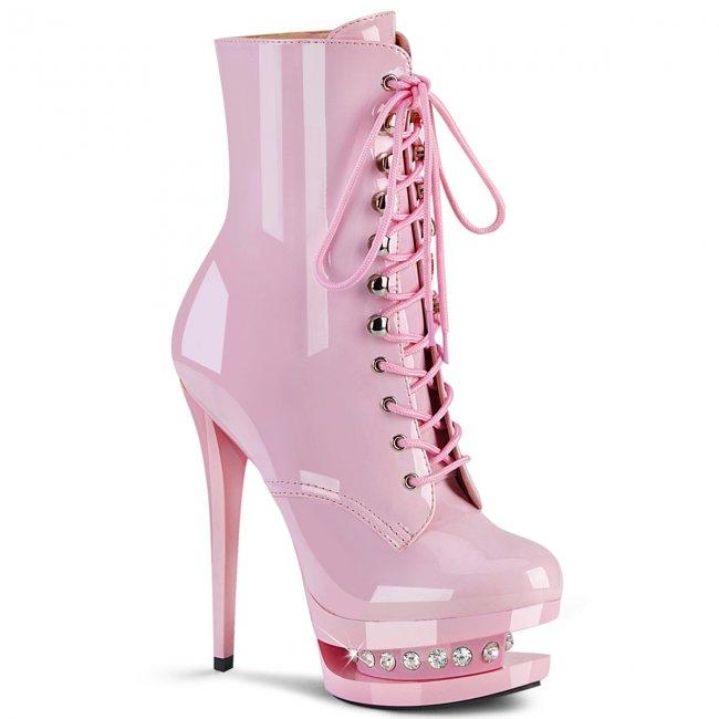 růžové luxusní kotníkové kozačky Blondie-r-1020-bp - Velikost 35