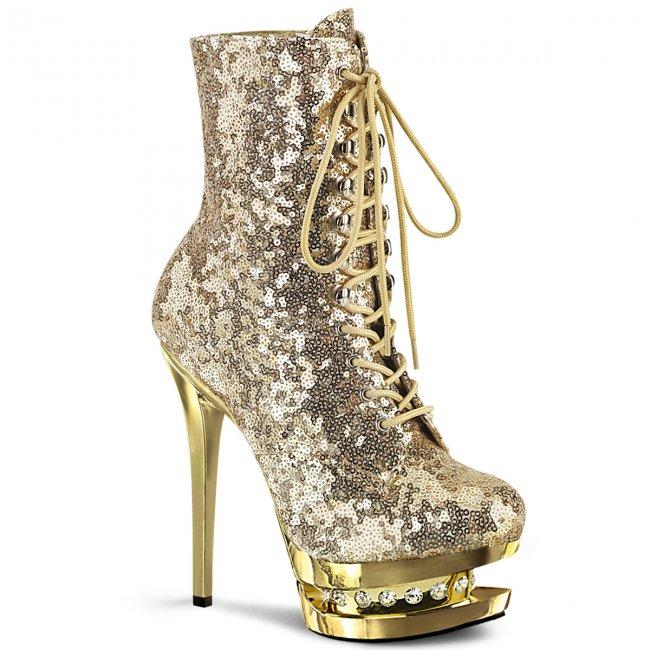 luxusní zlaté kotníkové kozačky s glitry Blondie-r-1020-gsqgch - Velikost 35