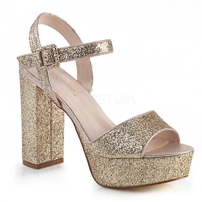 zlaté dámské sandály s glitry Celeste-09-gg - Velikost 38
