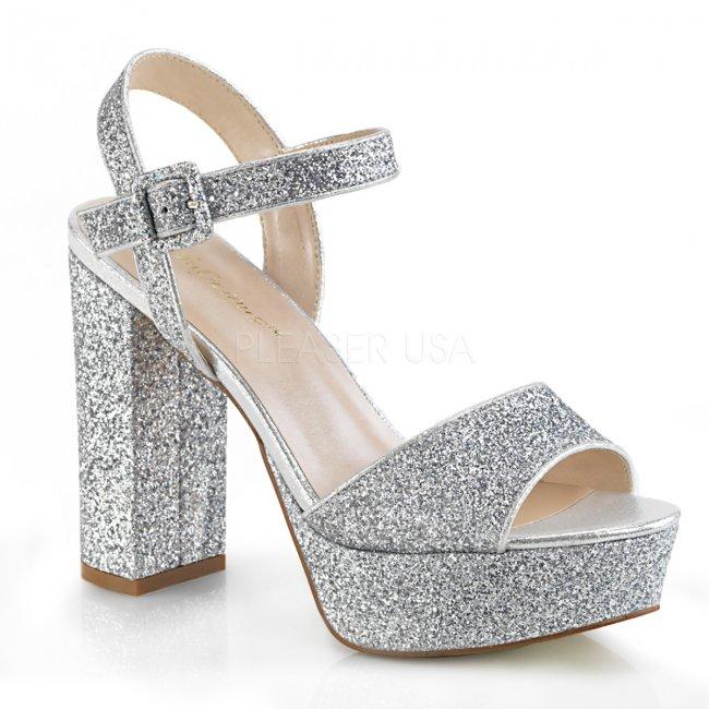 stříbrné dámské sandály s glitry Celeste-09-sg - Velikost 35