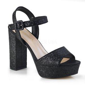 černé dámské sandály s glitry Celeste-09-bg