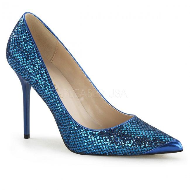 modré dámské lodičky s glitry Classique-20-nbglf - Velikost 38