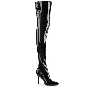 dámské černé lakované kozačky nad kolena Classique-3000-b