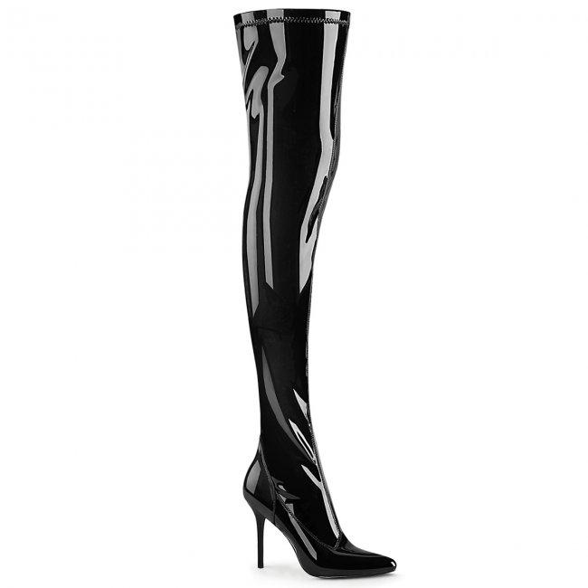 dámské černé lakované kozačky nad kolena Classique-3000-b - Velikost 41