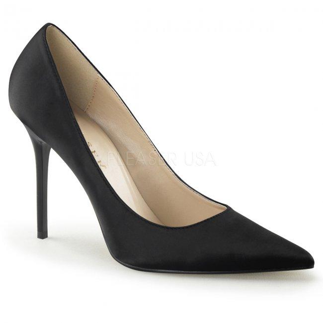černé saténové dámské lodičky Classique-20-bsa - Velikost 35