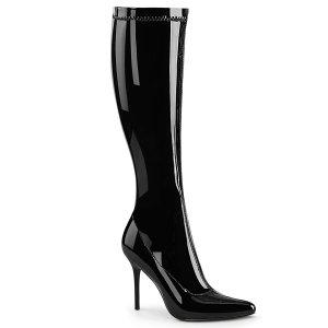dámské černé lakované kozačky pod kolena Classique-2000-b