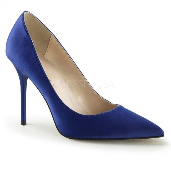 modré saténové dámské lodičky Classique-20-blsa - Velikost 36