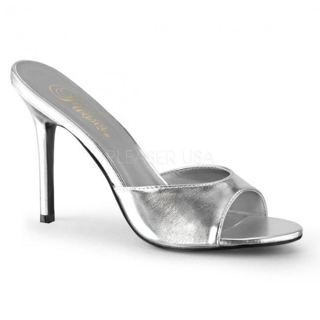 stříbrné dámské pantoflíčky Classique-01-smpu - Velikost 40