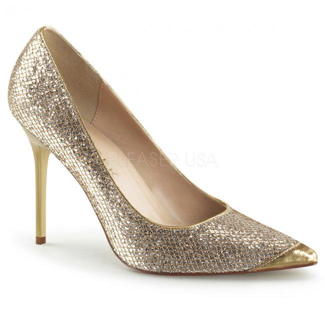 zlaté dámské lodičky s glitry Classique-20-gglf - Velikost 44