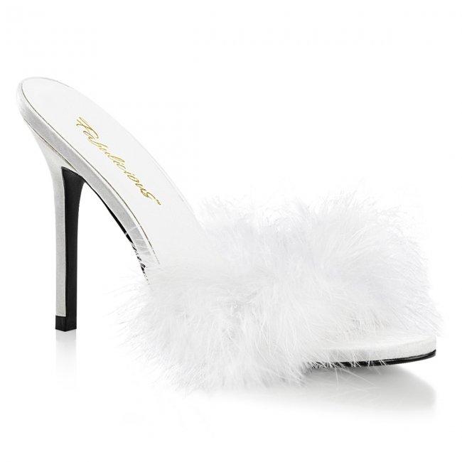 dámské bílé pantoflíčky s labutěnkou Classique-01f-wpuf - Velikost 46