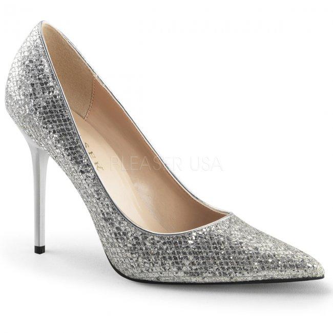 stříbrné dámské lodičky s glitry Classique-20-sglf - Velikost 44