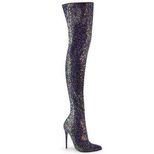 černé kozačky nad kolena s glitry Courtly-3015-bg