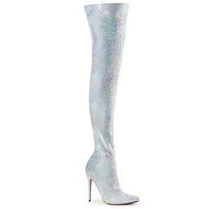 bílé kozačky nad kolena s glitry Courtly-3015-wg