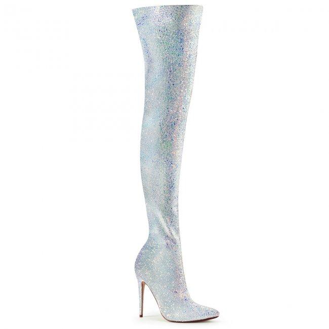 bílé kozačky nad kolena s glitry Courtly-3015-wg - Velikost 36