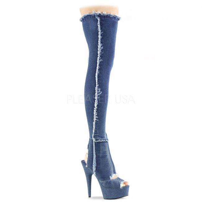 dámské džínové kozačky nad kolena Delight-3030-dmfa - Velikost 36