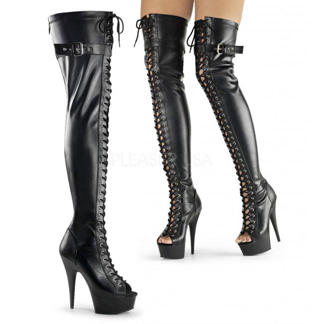 dámské šněrovací kozačky nad kolena Delight-3025-bpu - Velikost 35