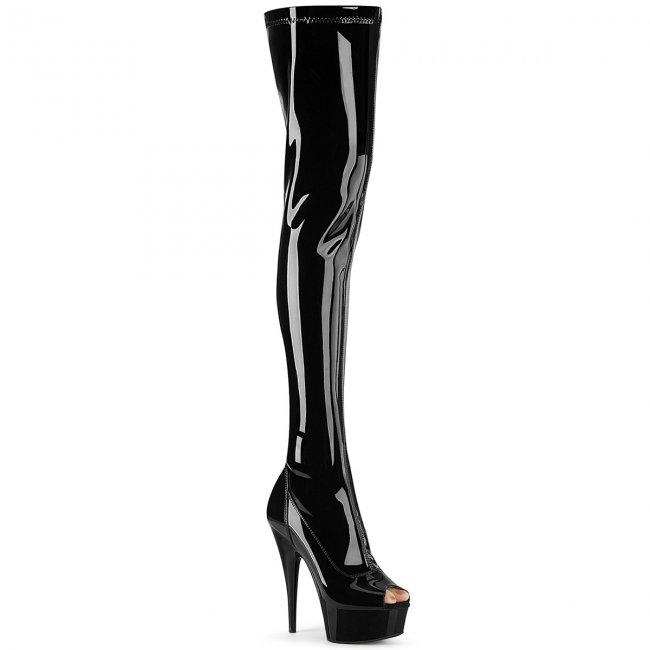 černé dámské lakové kozačky nad kolena Delight-3011-b - Velikost 38