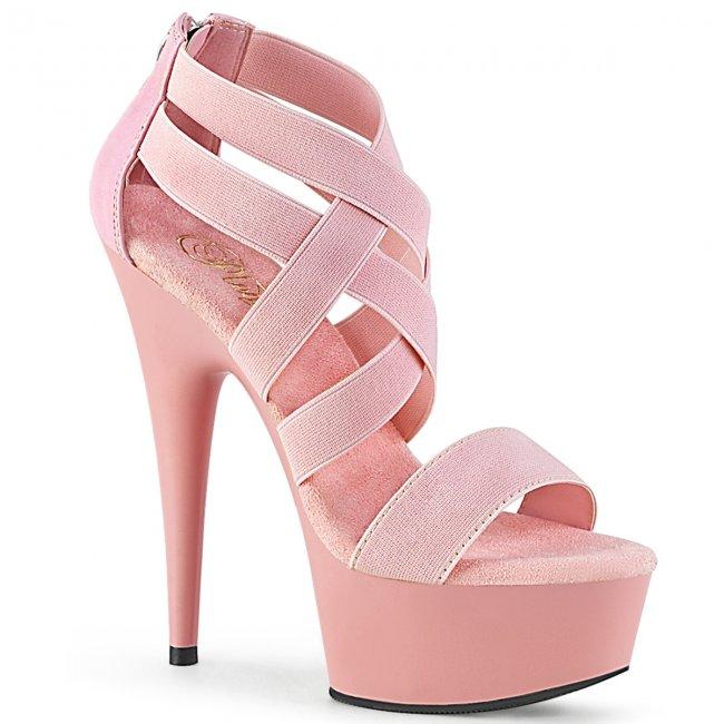 růžové dámské sandály s elastickými pásky Delight-669-bpelspu - Velikost 38