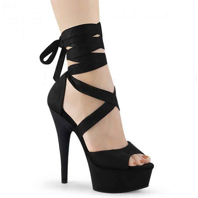 černé šněrovací dámské sandály Delight-679-bfs - Velikost 43