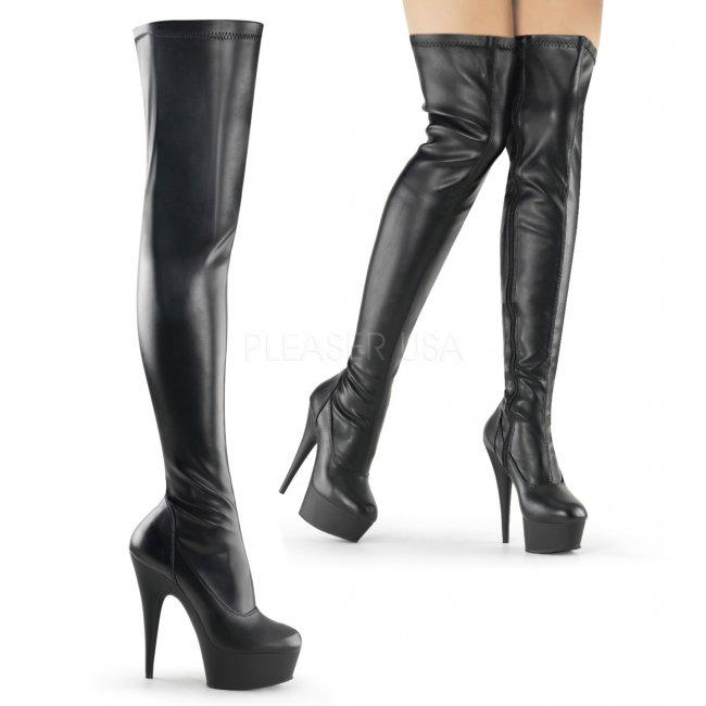 černé dámské kozačky nad kolena Delight-3000-bpu - Velikost 44