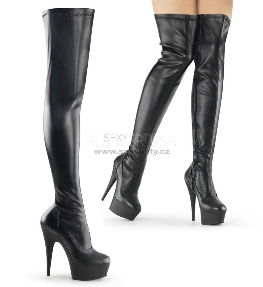 černé dámské kozačky nad kolena Delight-3000-bpu - Velikost 43 ... 6a1f6b9cbb