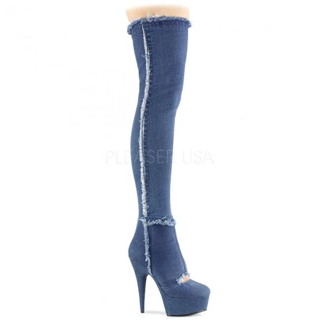 dámské džínové kozačky nad kolena Delight-3007-dmfa - Velikost 35