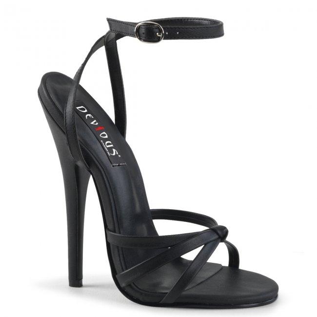 černé sandálky na vysokém jehlovém podpatku Domina-108-bpu - Velikost 35