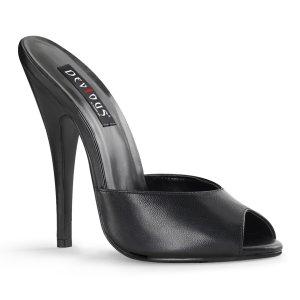 černé kožené pantoflíčky na vysokém jehlovém podpatku Domina-101-ble