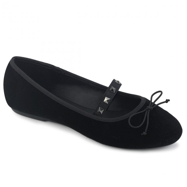 černé dámské sametové baleríny Drac-07-bvel - Velikost 44