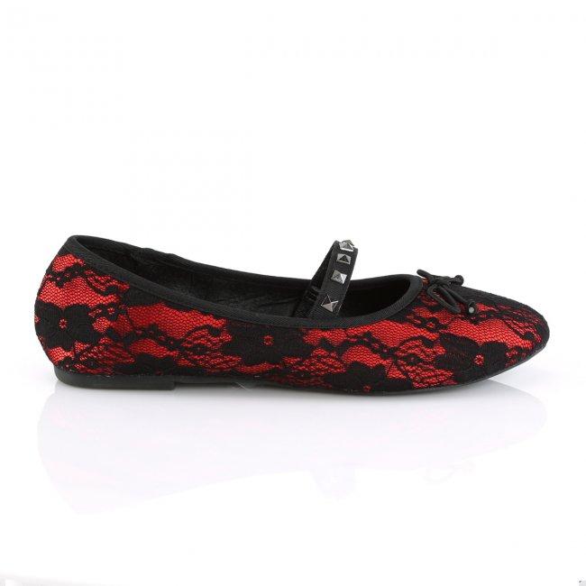 červené dámské krajkové baleríny Drac-07-rsablo - Velikost 40