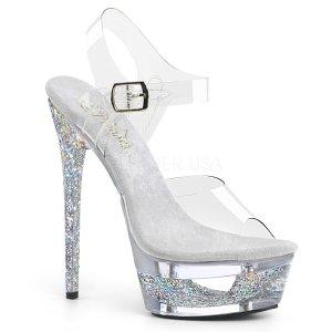 dámské stříbrné sandálky na jehlovém podpatku Eclipse-608gt-csgc