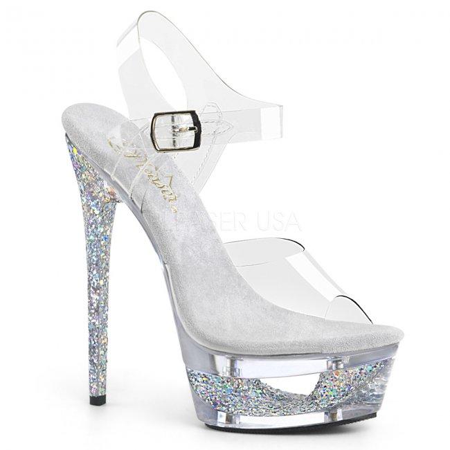 dámské stříbrné sandálky na jehlovém podpatku Eclipse-608gt-csgc - Velikost 40