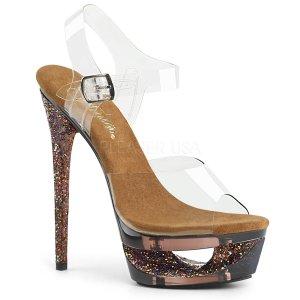 dámské hnědé sandálky na jehlovém podpatku Eclipse-608gt-cbng
