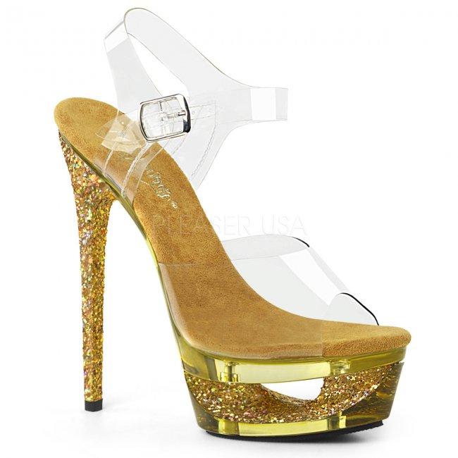 dámské zlaté sandálky na jehlovém podpatku Eclipse-608gt-cgg - Velikost 40