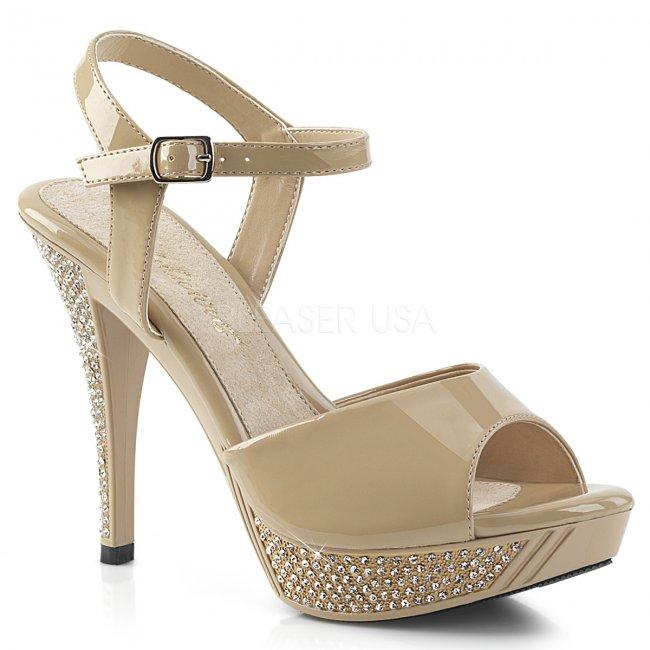 béžové sandálky s kamínky Elegant-409-cr - Velikost 40