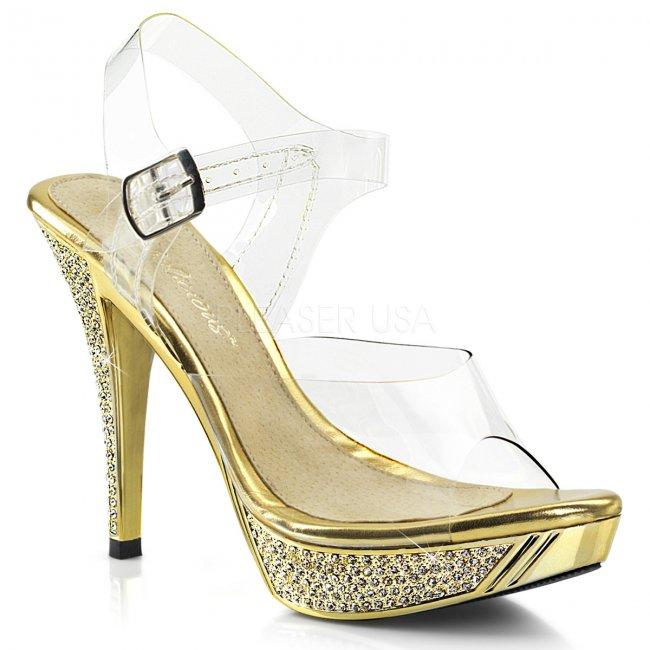 zlaté sandálky s kamínky Elegant-408-cgch - Velikost 36